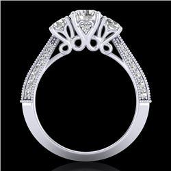 1.81 CTW VS/SI Diamond Art Deco 3 Stone Ring 18K White Gold - REF-262N5Y - 37145