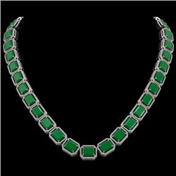 84.94 CTW Emerald & Diamond Halo Necklace 10K White Gold - REF-1000X5T - 41474