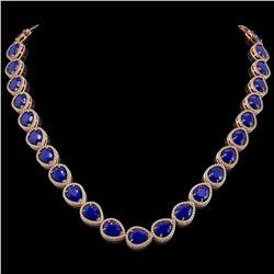 64.01 CTW Sapphire & Diamond Halo Necklace 10K Rose Gold - REF-733W5F - 41193