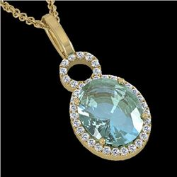 4 CTW Sky Blue Topaz & Pave Halo VS/SI Diamond Necklace 14K Yellow Gold - REF-53N6Y - 22774