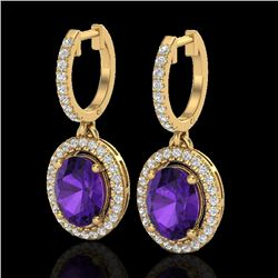 3.50 CTW Amethyst & Micro Pave VS/SI Diamond Earrings Halo 18K Yellow Gold - REF-99F8N - 20309