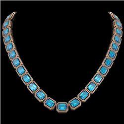 79.01 CTW Swiss Topaz & Diamond Halo Necklace 10K Rose Gold - REF-739K3W - 41508
