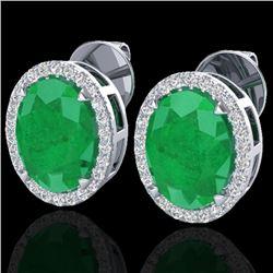 5.50 CTW Emerald & Micro VS/SI Diamond Halo Earrings 18K White Gold - REF-81K8W - 20248