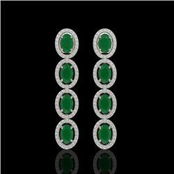 6.47 CTW Emerald & Diamond Halo Earrings 10K White Gold - REF-114Y2K - 40502