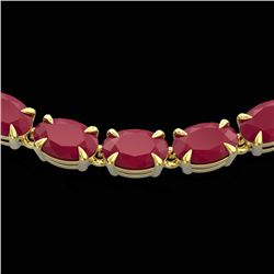 40 CTW Ruby Eternity Tennis Necklace 14K Yellow Gold - REF-218W2F - 23380