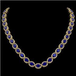52.15 CTW Sapphire & Diamond Halo Necklace 10K Yellow Gold - REF-655W3F - 40561