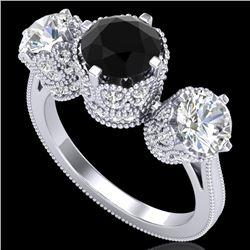 3.06 CTW Fancy Black Diamond Solitaire Art Deco 3 Stone Ring 18K White Gold - REF-294W9F - 37387