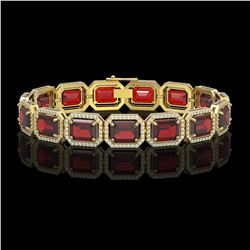33.41 CTW Garnet & Diamond Halo Bracelet 10K Yellow Gold - REF-318M2H - 41569
