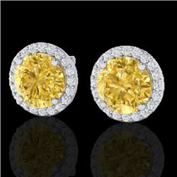 4 CTW Citrine & Halo VS/SI Diamond Micro Pave Earrings Solitaire 18K White Gold - REF-62K2W - 21486