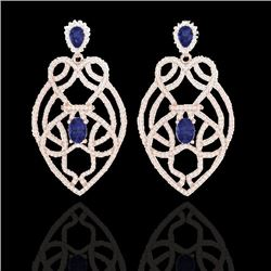 7 CTW Tanzanite & Micro VS/SI Diamond Heart Earrings Solitaire 14K Rose Gold - REF-381F8N - 21142