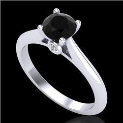 0.83 CTW Fancy Black Diamond Solitaire Engagement Art Deco Ring 18K White Gold - REF-69T3M - 38192