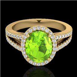 3 CTW Peridot & Micro VS/SI Diamond Halo Solitaire Ring 18K Yellow Gold - REF-72A2X - 20946