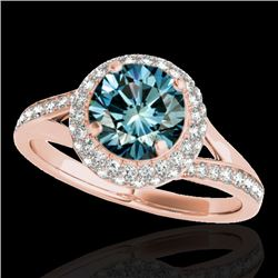 1.6 CTW Si Certified Fancy Blue Diamond Solitaire Halo Ring 10K Rose Gold - REF-178A2X - 34120