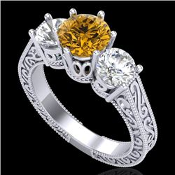 2.01 CTW Intense Fancy Yellow Diamond Art Deco 3 Stone Ring 18K White Gold - REF-343W6F - 37581