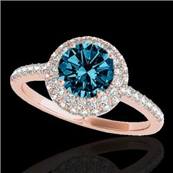 2.15 CTW Si Certified Fancy Blue Diamond Solitaire Halo Ring 10K Rose Gold - REF-275Y6K - 33685