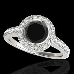 1.5 CTW Certified VS Black Diamond Solitaire Halo Ring 10K White Gold - REF-76K4W - 34444