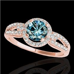 1.25 CTW Si Certified Fancy Blue Diamond Solitaire Halo Ring 10K Rose Gold - REF-161F8N - 34093