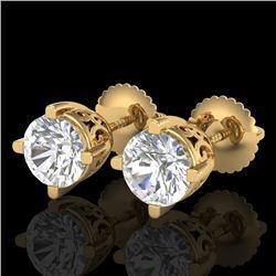 1.5 CTW VS/SI Diamond Solitaire Art Deco Stud Earrings 18K Yellow Gold - REF-318A2X - 37231