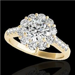 2 CTW H-SI/I Certified Diamond Solitaire Halo Ring 10K Yellow Gold - REF-207F3N - 33420
