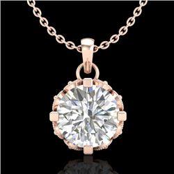 1.14 CTW VS/SI Diamond Solitaire Art Deco Stud Necklace 18K Rose Gold - REF-205M5H - 36843