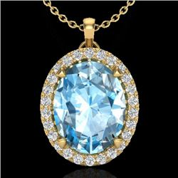 2.75 CTW Sky Blue Topaz & Micro VS/SI Diamond Halo Necklace 18K Yellow Gold - REF-46Y8K - 20583