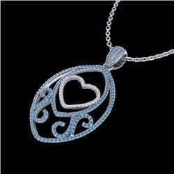 1.75 CTW Blue & White Micro Pave VS/SI Diamond Heart Necklace 18K White Gold - REF-201T5M - 22587