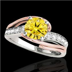 1.25 CTW Certified Si Fancy Diamond Bypass Solitaire Ring 10K White & Rose Gold - REF-176N4Y - 35124