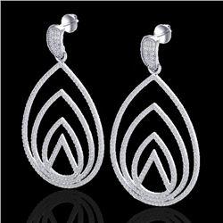 2.50 CTW Micro Pave VS/SI Diamond Designer Earrings 18K White Gold - REF-277A6X - 22476