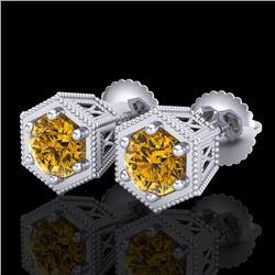 1.15 CTW Intense Fancy Yellow Diamond Art Deco Stud Earrings 18K White Gold - REF-138A2X - 38043