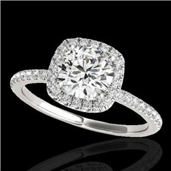 1.5 CTW H-SI/I Certified Diamond Solitaire Halo Ring 10K White Gold - REF-209A3X - 33334