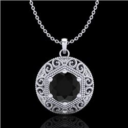 1.11 CTW Fancy Black Diamond Solitaire Art Deco Stud Necklace 18K White Gold - REF-87X3T - 37562