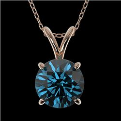 1.28 CTW Certified Intense Blue SI Diamond Solitaire Necklace 10K Rose Gold - REF-240T2M - 36789