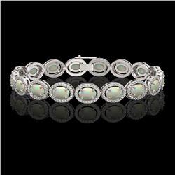 14.24 CTW Opal & Diamond Halo Bracelet 10K White Gold - REF-298K2W - 40616
