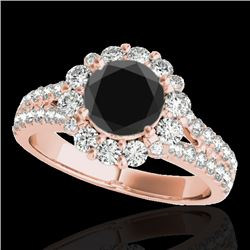2.01 CTW Certified VS Black Diamond Solitaire Halo Ring 10K Rose Gold - REF-102A2X - 33935