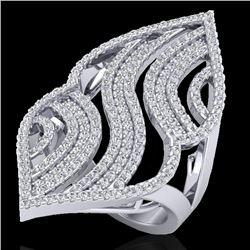 2 CTW Micro Pave VS/SI Diamond Designer Ring 14K White Gold - REF-180T9M - 20869