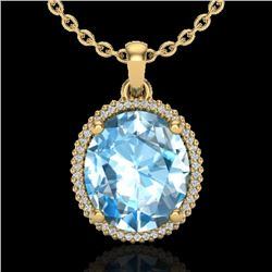 12 CTW Sky Blue Topaz & Micro VS/SI Diamond Halo Necklace 18K Yellow Gold - REF-77H3A - 20605