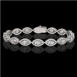10.61 CTW Marquise Diamond Designer Bracelet 18K White Gold - REF-1946Y2K - 42653