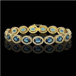 24.32 CTW London Topaz & Diamond Halo Bracelet 10K Yellow Gold - REF-256M8H - 40639
