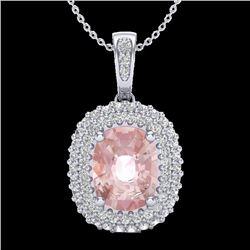 2.75 CTW Morganite & Micro Pave VS/SI Diamond Halo Necklace 18K White Gold - REF-96Y4K - 20416