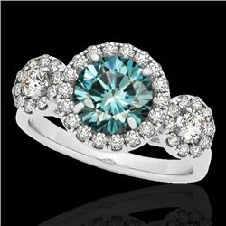 1.75 CTW Si Certified Fancy Blue Diamond Solitaire Halo Ring 10K White Gold - REF-180K2W - 33287