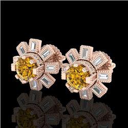 1.77 CTW Intense Fancy Yellow Diamond Art Deco Stud Earrings 18K Rose Gold - REF-236A4X - 37869
