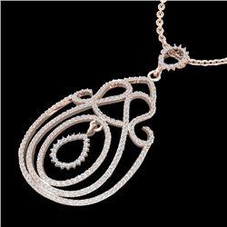 2 CTW Micro Pave Designer VS/SI Diamond Necklace 14K Rose Gold - REF-149X5T - 22450