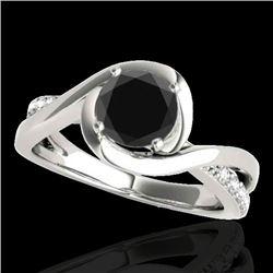 1.15 CTW Certified VS Black Diamond Solitaire Ring 10K White Gold - REF-57K3W - 34838