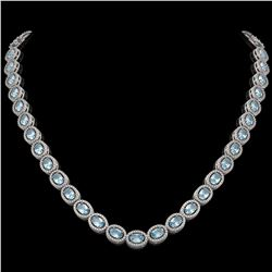 24.65 CTW Aquamarine & Diamond Halo Necklace 10K White Gold - REF-572F8N - 40424