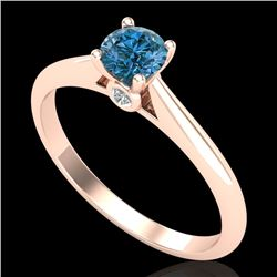 0.4 CTW Intense Blue Diamond Solitaire Engagement Art Deco Ring 18K Rose Gold - REF-80X2T - 38182