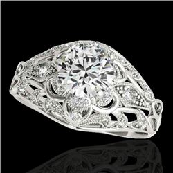 1.36 CTW H-SI/I Certified Diamond Solitaire Antique Ring 10K White Gold - REF-172W8F - 34711