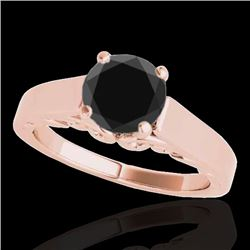 1 CTW Certified VS Black Diamond Solitaire Ring 10K Rose Gold - REF-44W5F - 35141