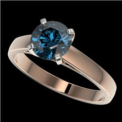 1.46 CTW Certified Intense Blue SI Diamond Solitaire Engagement Ring 10K Rose Gold - REF-210F2N - 36