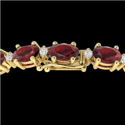 15 CTW Garnet & VS/SI Diamond Eternity Bracelet 10K Yellow Gold - REF-74X2T - 21452