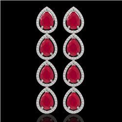 16.01 CTW Ruby & Diamond Halo Earrings 10K White Gold - REF-199T6M - 41285